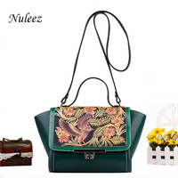 Nuleez genuine cowhide leather cross body bag women Hand carved birds and floral delicate and luxury Chinese national style 2018