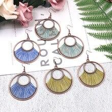 Women Geometric Round Color Silk Pendant Alloy Earrings Vintage Fashion Tribal Set Female Trendy