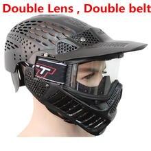 Полная голова лицо Анти-туман двойной объектив и ремень Пейнтбол маска CS игры для пейнтбольных аксессуаров и оборудования зеленый или черный цвет