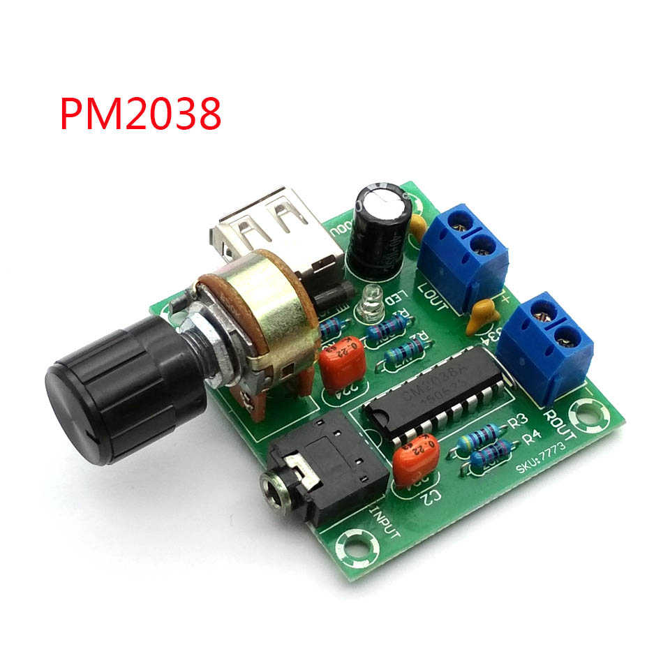 5V Mini Amplifier AC And DC USB Small Power Amplifier PM2038 Power Amplifiers 5Wx2 High-fidelity Product