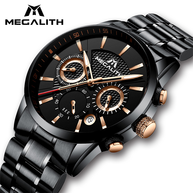MEGALITH Mens Orologi di Lusso Impermeabile Cronografo Militare Della Vigilanza di Sport Per Gli Uomini Data Analogico di Sesso Maschile Orologi Da Polso Relogio Orologio