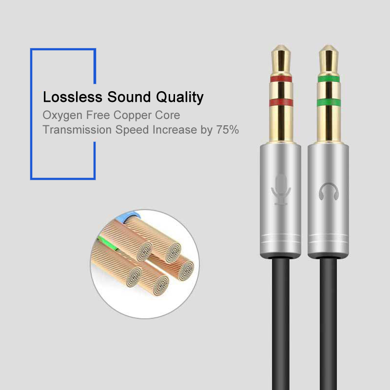 VERI 3.5mm Jack Microphone Headset Audio Splitter Cable Female to 2 Male Headphone Mic Aux Extension Cables For phone Computer