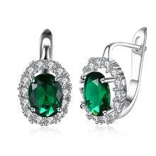 Luxury Crystal Hoop Earrings 925 Silver Green Stone Women Earrings Jewelry Wedding Design Earring Gifts Brinco popular 925 sterling silver 5 colors square cubic zirconia stone austria crystal classic clip earring women jewelry brinco