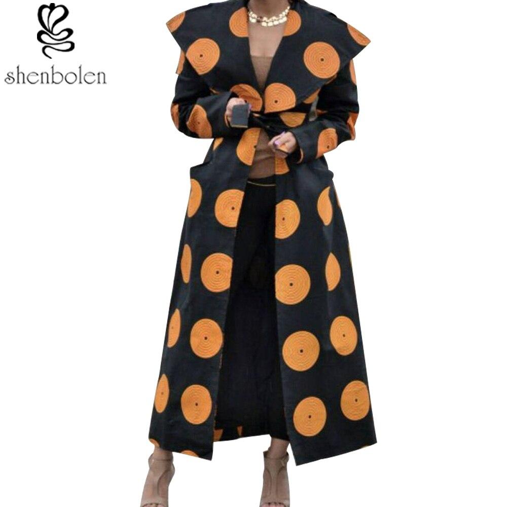 shenbolen 2018 new fashion women long coat wax wax printing African clothing Ankara long-sleeved jacket made of pure cotton