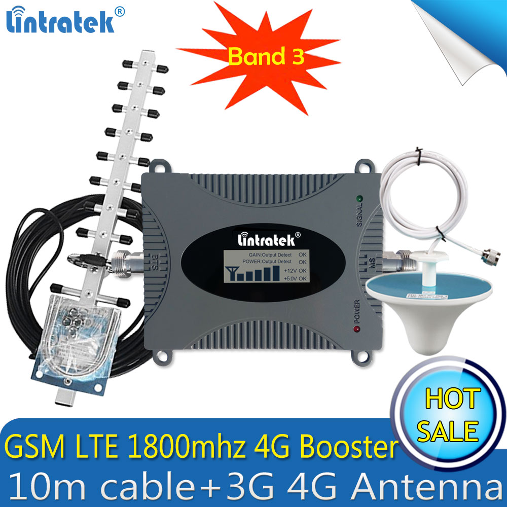 Lintratek Russia LTE 1800mhz 2G 4G Cellular Signal Booster GSM Repeater 4G Amplifier DCS LTE 1800 Amplifier 4G Antenna