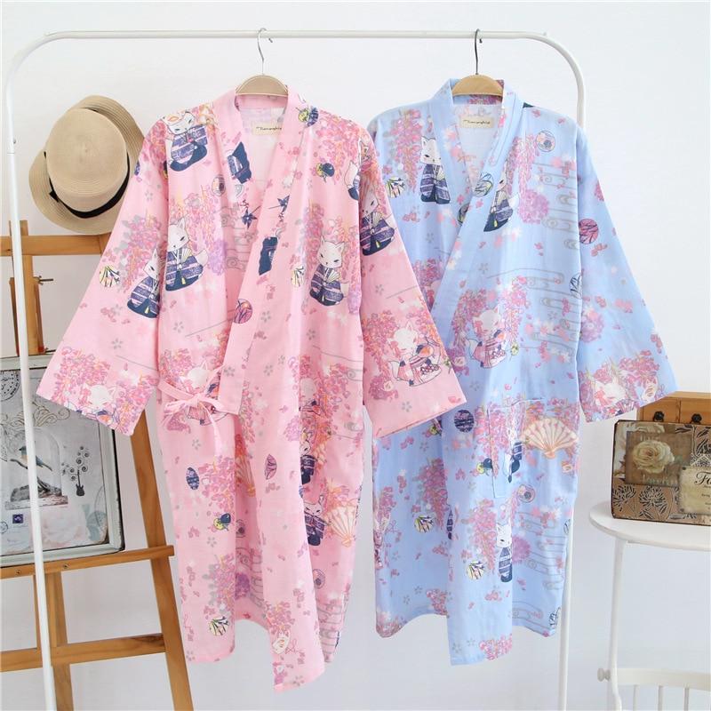 Summer Nightgown 100% Cotton Robes men and Women Kimono Lovers Spa Robe Cartoon pattern Pajamas Japanese Kimono Yukata Bathrobes
