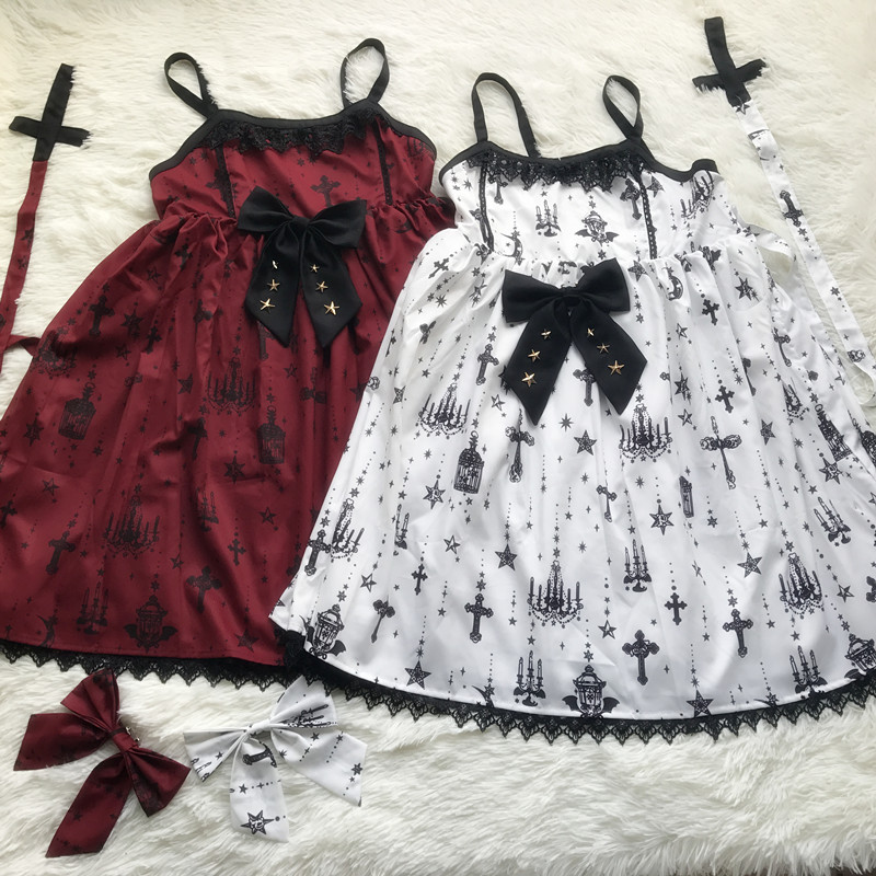 2018 JSK Lolita Dress Sleeveless Sweet Lace Bow Արքայադուստր Զգեստներ JSK Dress 3D տպում Castle Star Cosplay զգեստներ