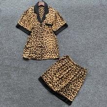 Sexy Leopard Print Pajamas for Women Summer Silk Satin pijama set Women Casual Home Apparel Pants lingerie pyjamas 2 Piece Set