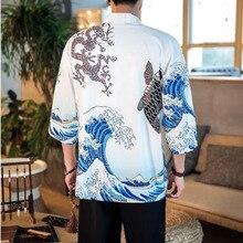 #4360 Spring 2019 Casual Japanese Cardigan Kimono Shirts Mens Black White Thin 3d Print Style Cotton Streetwear