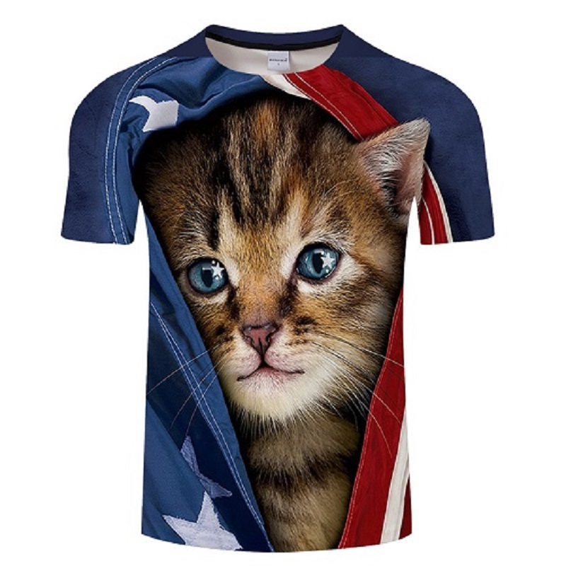 The new style 2018 summer short sleeve print T-shirt for men and women, with graffiti and funny cat T-shirt for men Asian size