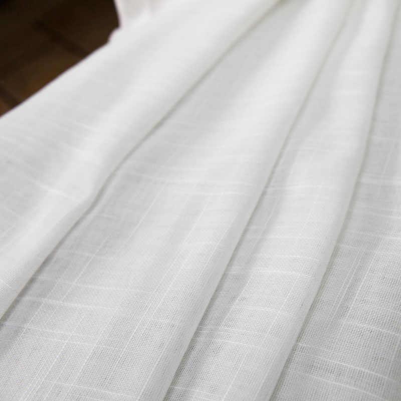 Weiß Tüll Vorhänge für Wohnzimmer Soild Kreuz Baumwolle Leinen Sheer Vorhänge für Schlafzimmer Organza Voile Fenster Behandlungen Panel