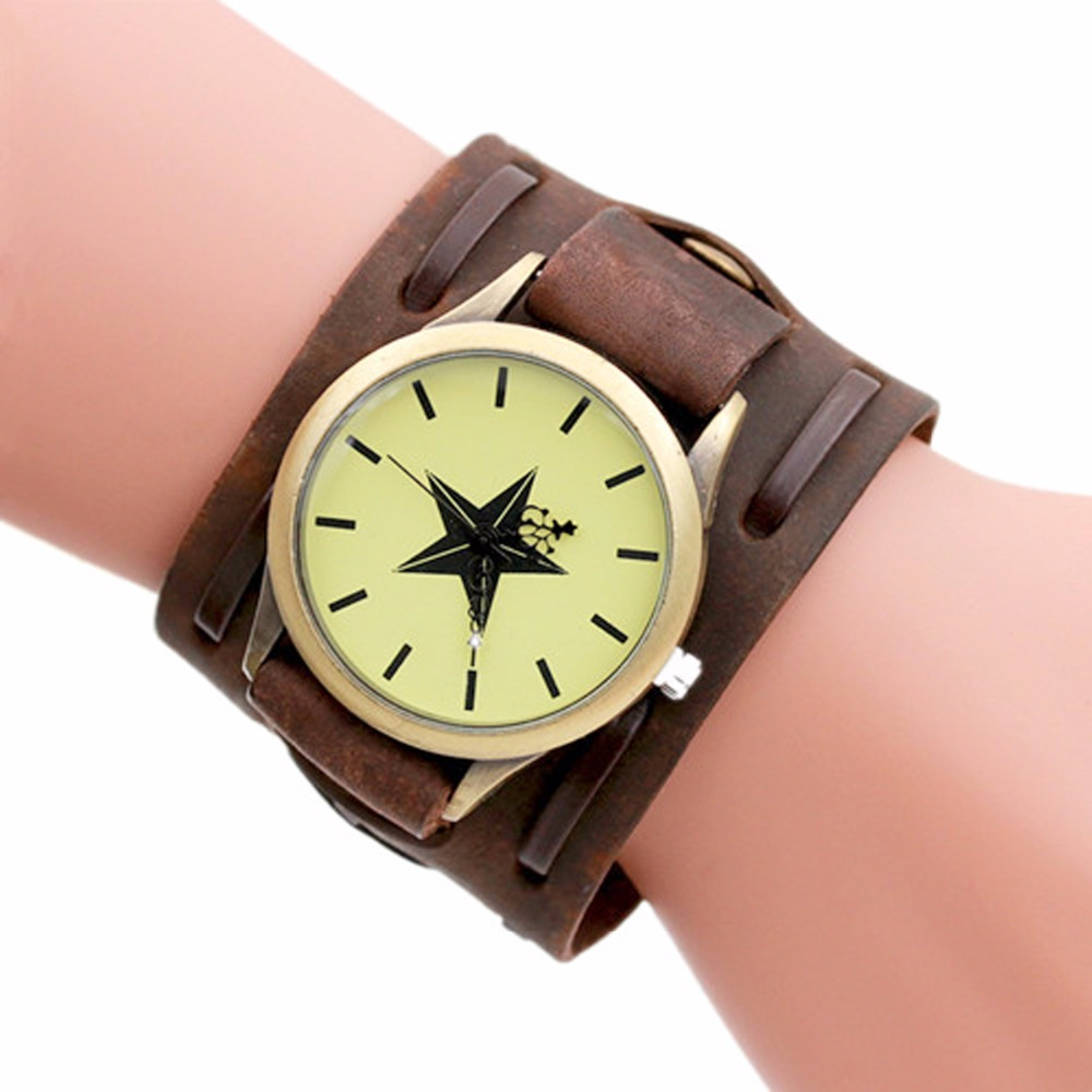 Shellhard Retro Punk Rock Style Cuff Watch Men Star Pattern Big Leather Band Strap Bracelet Quartz Wrist Watch Relogio Masculino