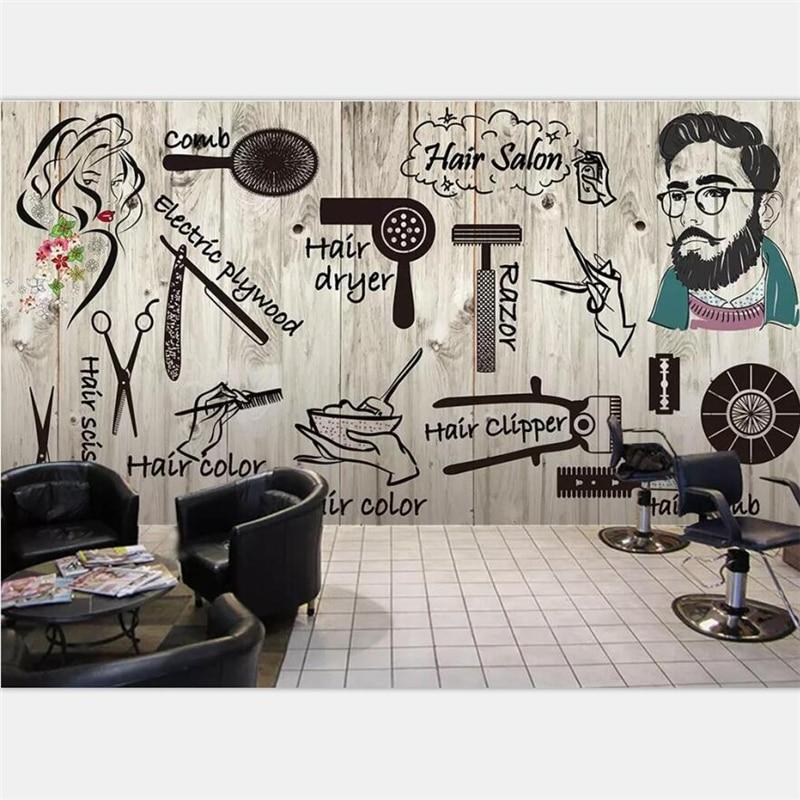 Beibehang Wallpaper Custom Large Scale Nordic Style Hair Salon Hair