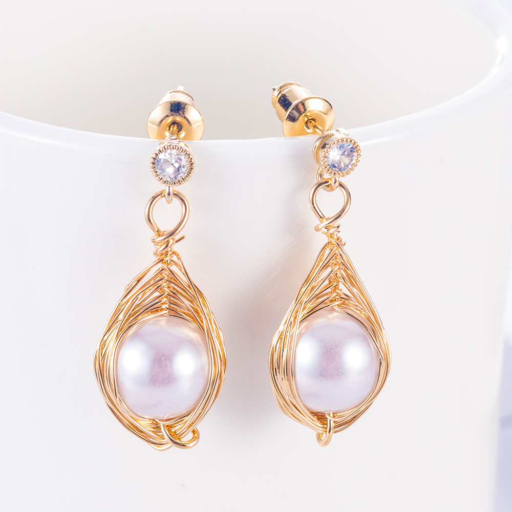 1Pcs Drawing Big Pearl Bead Earrings for Women 2019 Dangle Jewelry Girl Lovely Party Style Aretes De Mujer Brincos