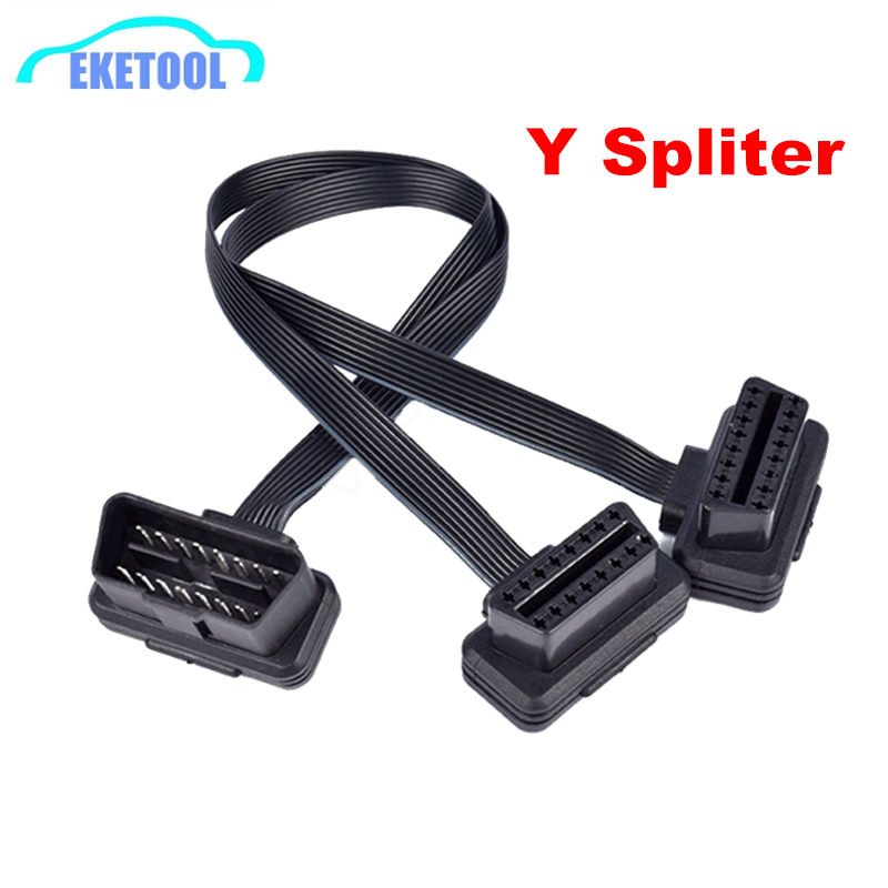 16 Pin OBD2 Male To Double Female Splitter Flat Thin Y Connector Extension Cable