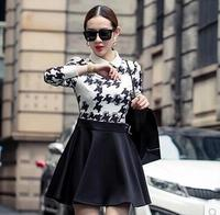 Spring And Autumn New Female Models Korean Version Of Houndstooth Slim Doll Collar Long Sleeve Dress