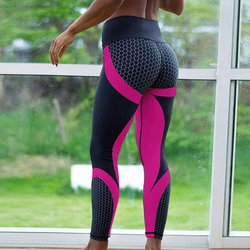 8 colors New Fitness Sport leggings Women Mesh Print High Waist Legins Femme Girls Workout Yoga Pants Push Up Elastic Slim Pants(China)