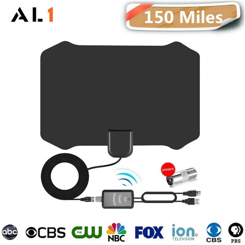 150 Miles Amplified Digital HDTV Antenna Indoor HD TV Antena Amplifier Booster TV Fox Radius Antennas DVBT-T2 VHF UHF Antenas