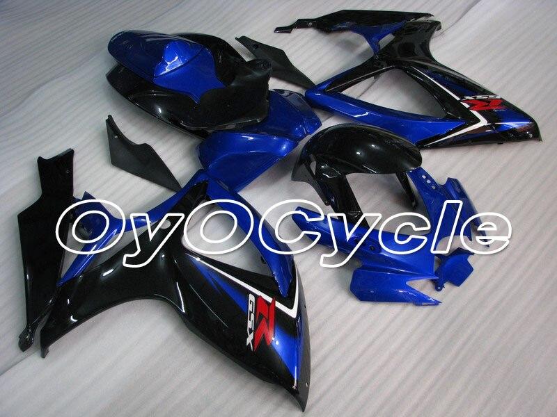 Para 06-07 Suzuki GSXR600 GSXR750 K6 K7 GSXR 600 K 5 750 inyección de ABS carenado carrocería Kit 2006 de 2007 negro Azul
