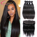 7A Brazilian Virgin Straight Hair With Frontal Unprocessed Human Hair 4 Bundles With 13*4 Ear To Ear Lace Frontal With Bundles