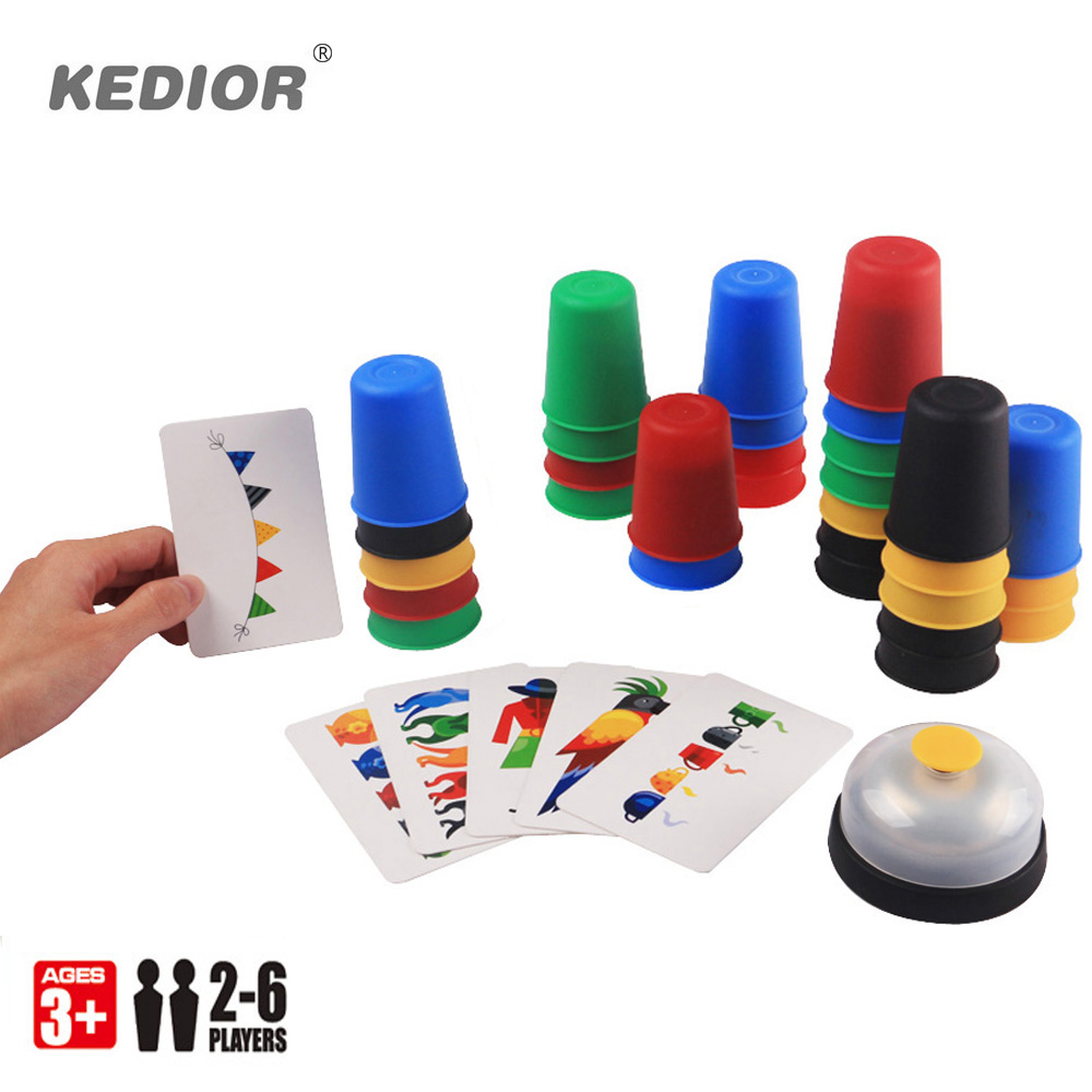 2-6 Players Family Board Game Speed Cups Stacking Game Card Games Funny Party Challenge Quick Cups Indoor Game For Kids Gift classical games game elf 750 in 1 board with 412 games card for cga