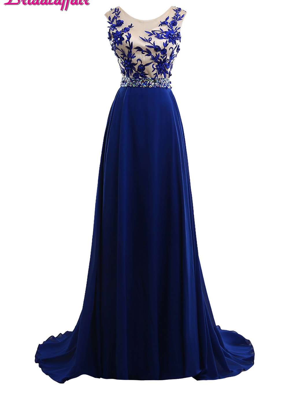 BridalaffairReal Photo Appliques Lace Scoop Neck   Prom     Dresses   2017 Sweep Train Blue Chiffon Long Evening Gown New Robe de soiree