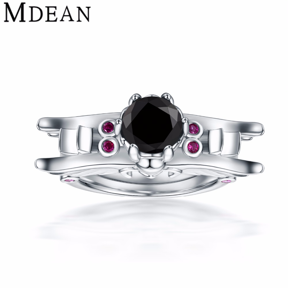 india jewelry marine ring promotion marine wedding rings MDEAN White Gold Plated Wedding Rings For Women Engagement vintage black CZ diamond jewelry color Ring fashion Bague MSR