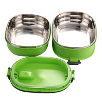 HOT Insulated Lunch Box Stainless Steel Food Storage Container Thermo Server Essentials Thermal Double Layer Green
