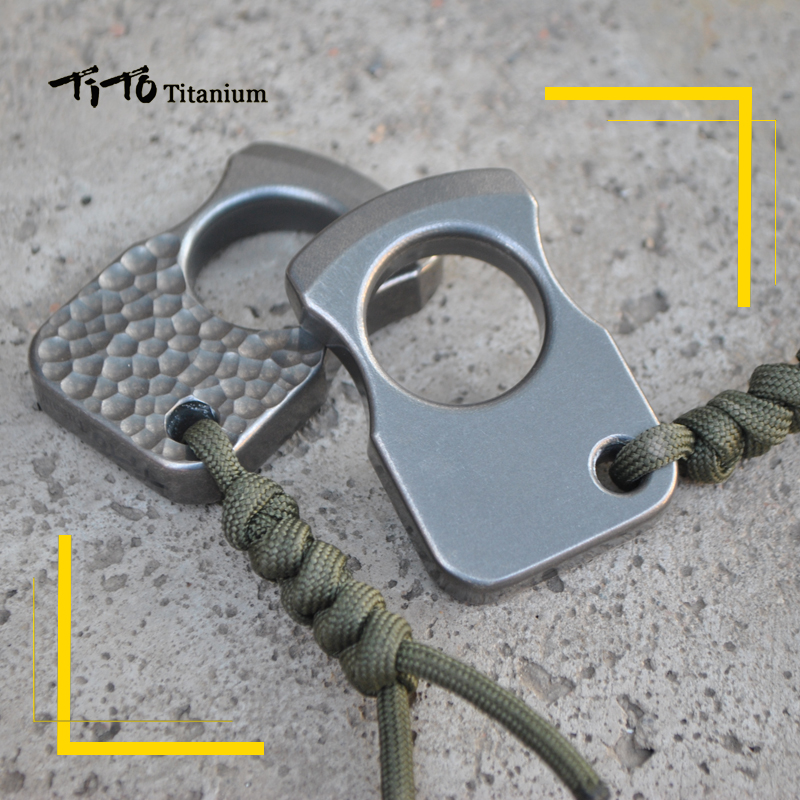 TiTo EDC titanium alloy multipurpose single holes Tools meteorite keychain outdoors ring tools-in Outdoor Tools from Sports & Entertainment    3
