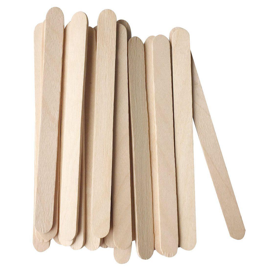 Hot Sale 200x Natural Wooden Ice Cream Sticks Treat Sticks Freezer Pop Sticks, 4.5 Inch Length wood color