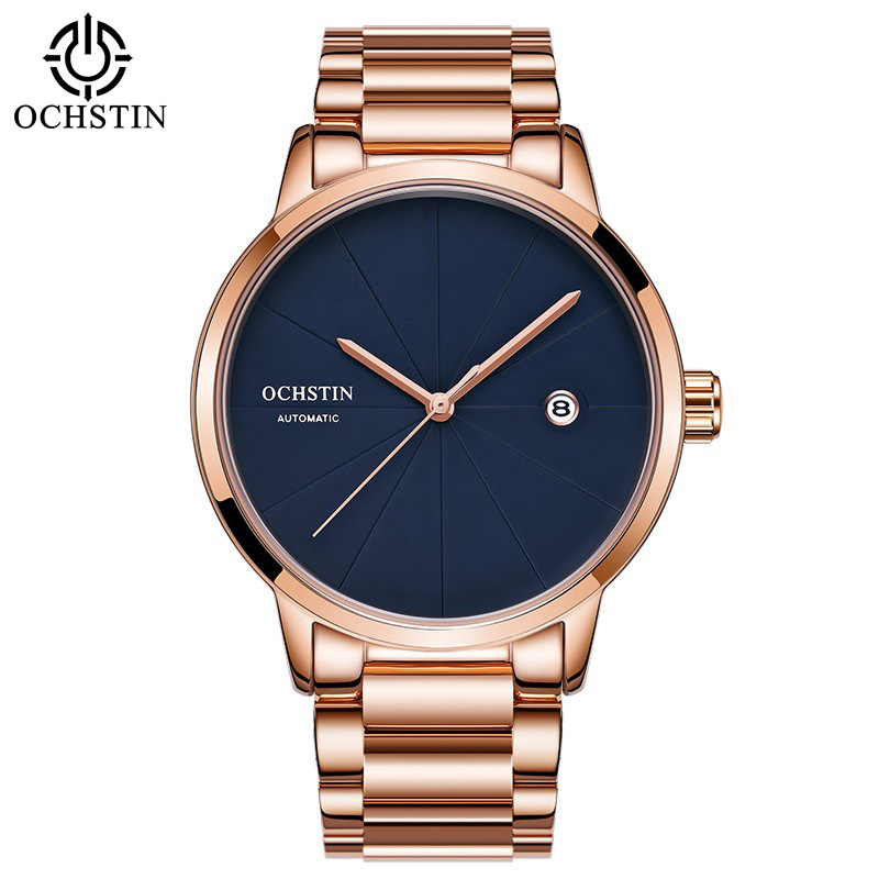 Mens Mechanical Watch Rose Gold Full Steel Bracelet Horloges Mannen Dresses Automatic Date Sport Watch