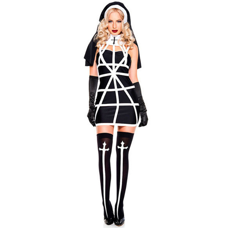 Sexy Nun Costume Adult Women Dress With Hood For Halloween Costume Nun Outfits Sexy Cosplay Black Halloween Costume For Women