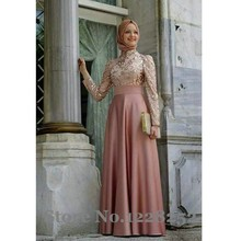 Blush Pink Abaya Muslim Evening Dresses Dubai Kaftans 2016 Arabic Evening Dresses Long Sleeves Green Chiffon A line Floor Length