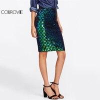 COLROVIE Iridescent Diamond Sequin Skirt Fish Scale Women Sexy Midi Club Pencil Skirts 2017 Summer Green