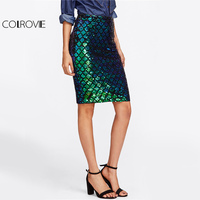 COLROVIE Iridescent Diamond Sequin Skirt Fish Scale Women Sexy Midi Club Pencil Skirts 2017 Summer Green
