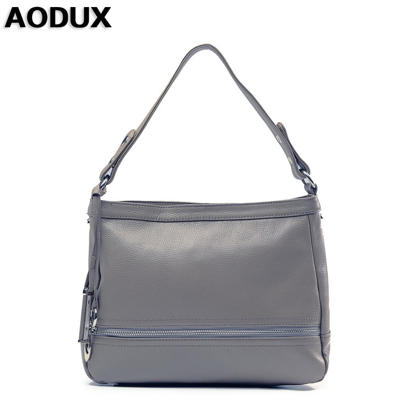 AODUX 5 Colors Top Layer Genuine Cow Leather Women Shoulder Bag Handbags Real Leather Long Shoulder Strap Messenger Bags women bags genuine leather top quality real photos 21cm many colors women shoulder bag