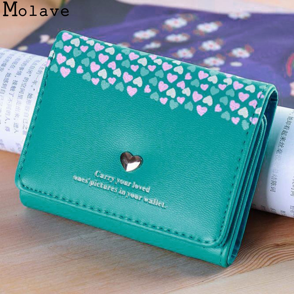 MOLAVE wallet Women Love Heart Coin Short Card Holders Handbag Purse high quality fashion wallet female famous dec20