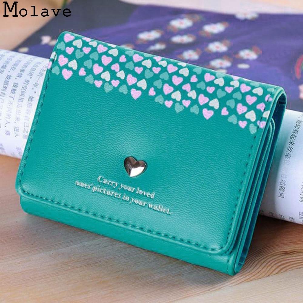 MOLAVE wallet Women Love Heart Coin Short Card Holders Handbag Purse high quality fashion wallet female famous dec20 carteras love heart women girls coin purse wallet card holders comfystyle si 26d