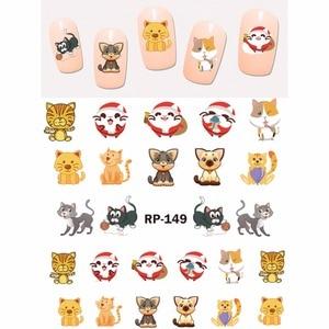 Image 3 - נייל אמנות יופי נייל מדבקת מים מדבקות מחוון קריקטורה בעלי החיים קנגורו דביבון חתול חג המולד קיפוד RP145 150