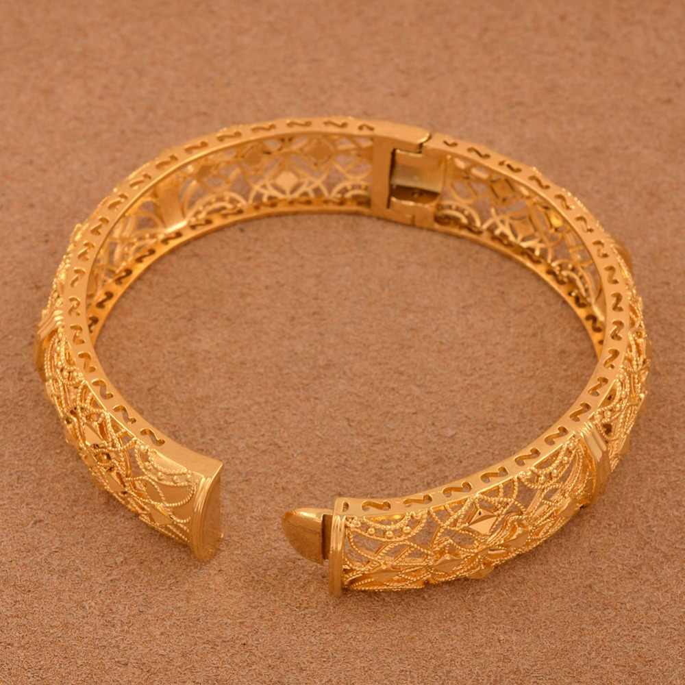 Anniyo 24K Dubai Bangles Jewellery Ethiopian Bracelets for Women African Wedding Jewelry Party Gifts (ONE PIECE) #110506
