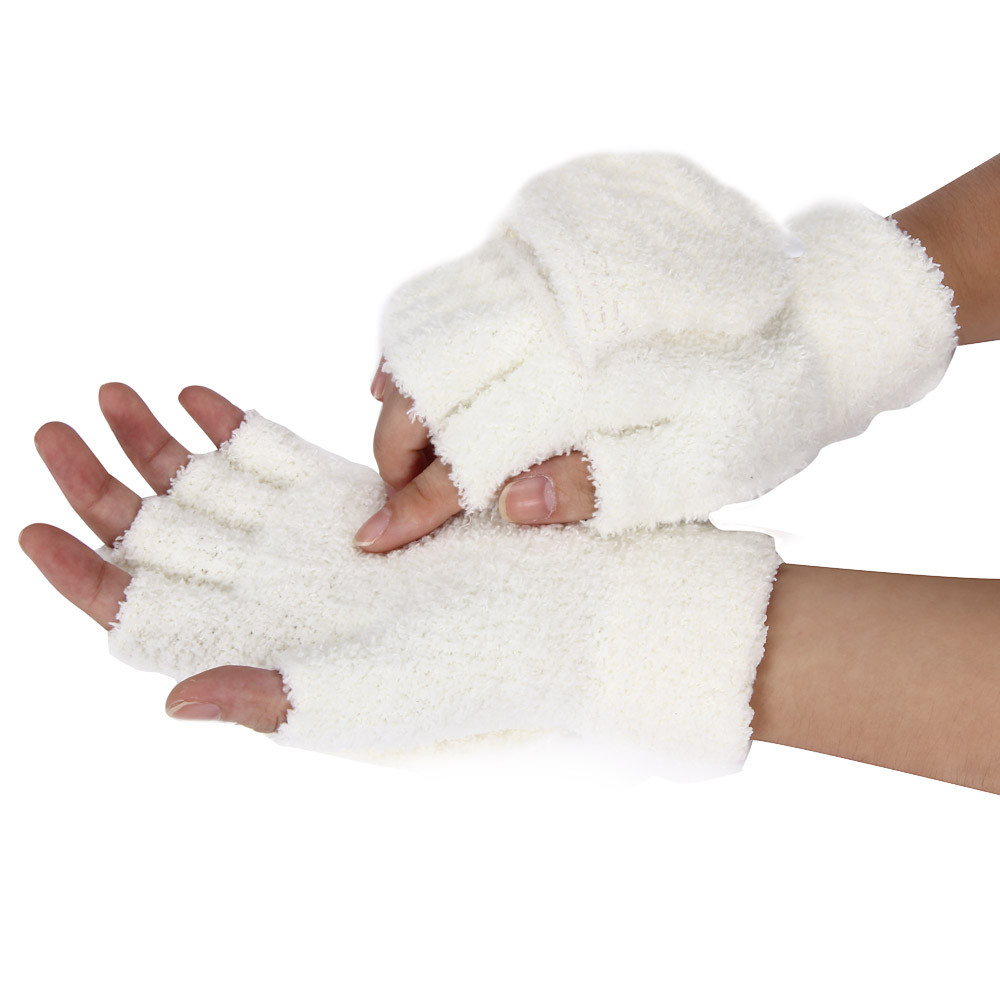 KLV  Girls Women Ladies Hand Wrist Warmer Winter Fingerless Gloves Mitten Z0913