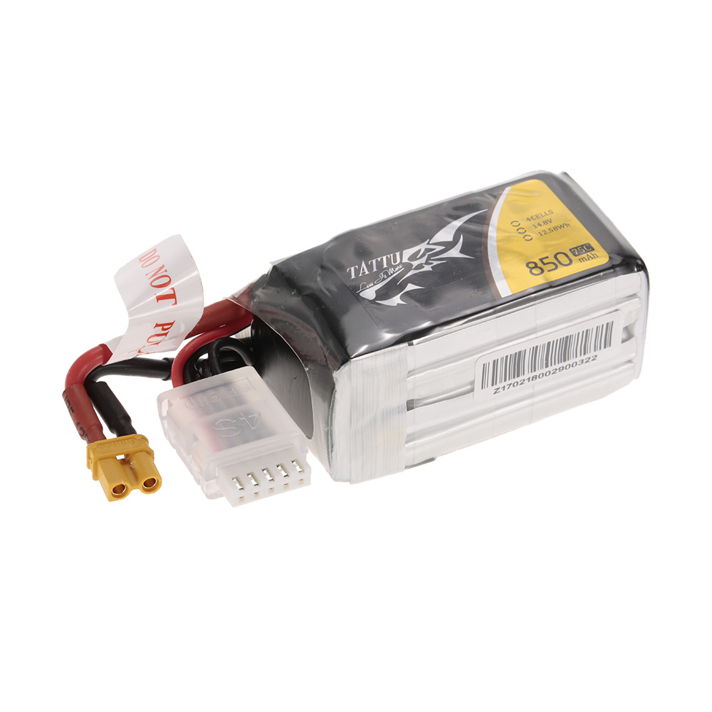 75C 4S1P 4S Lipo Battery 14.8V 850mAh with XT30 Connector Plug for FPV Racing Drone Helicopter Remote Control Accessories