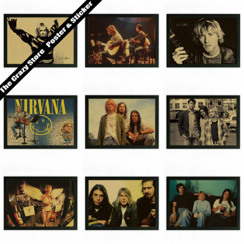 Nirvana kurt cobain rock pop music vintage retro posters for Retro house music