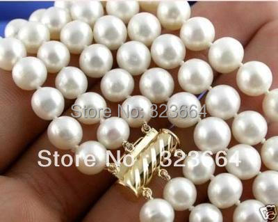 Hot Sell ! 3row Natural 8-9MM AAA+ White Pearl Necklace Hot Sell ! 3row Natural 8-9MM AAA+ White Pearl Necklace