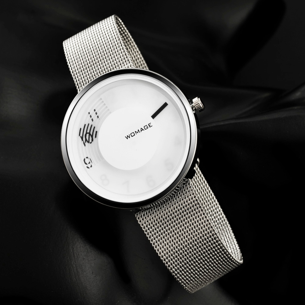 Mens Watches Top Womage Brand Luxury Stainless Steel Watch Silver Thin Wristwatches Watches Man Clock relogio masculino montre Mens Watches Top Womage Brand Luxury Stainless Steel Watch Silver Thin Wristwatches Watches Man Clock relogio masculino montre