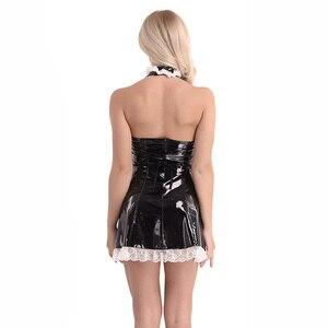 Image 3 - 3 sztuk kobiet Wetlook Sexy kostiumy lakierki Maid Dress Cosplay kostiumy maidsert przebranie na halloween z fartuch Role Playing