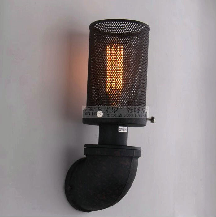 ФОТО Black color pipe retro loft vintage iron shade wall lamp sconces  industrial home lighting fixture for living room free shipping