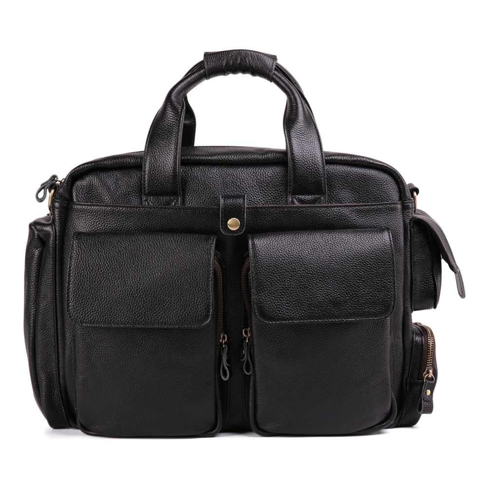 Bolso de mensajero de cuero genuino para hombre bolso de hombro bandolera portátiles bolsos de negocios bolso de mano diseño de maletín Masculino