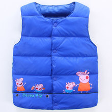 Warm Children's down vest for women boys children waistcoats in winter autumn spring light-weight letter 2017new fashion and low cost blue
