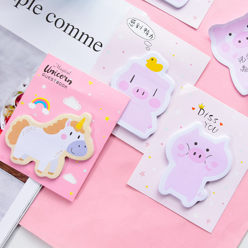 30Sheets Kawaii Unicorn Memo Pads Animals Sticky Notes Creative Pig Notepads For Kids Gifts School Office Supplies Stationery